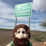 Norm is in front of the Hashknife Pony Express in Arizona