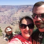 Respiratory Therapy Bachelor of Science student Travis Goodwyn and his wife at the Grand Canyon with Norm